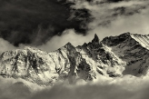 Aiguille de la Tza and clouds