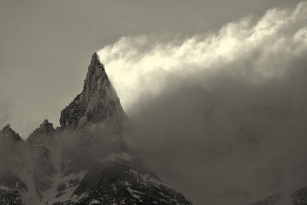 Aiguille de la Tza with cloud veil