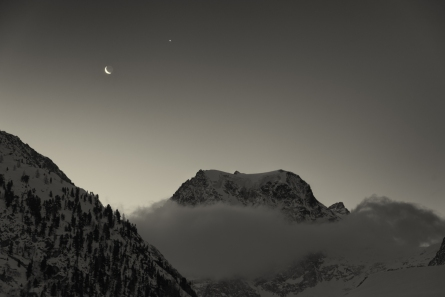 Dawn with Mont Collon, Moon, and Venus